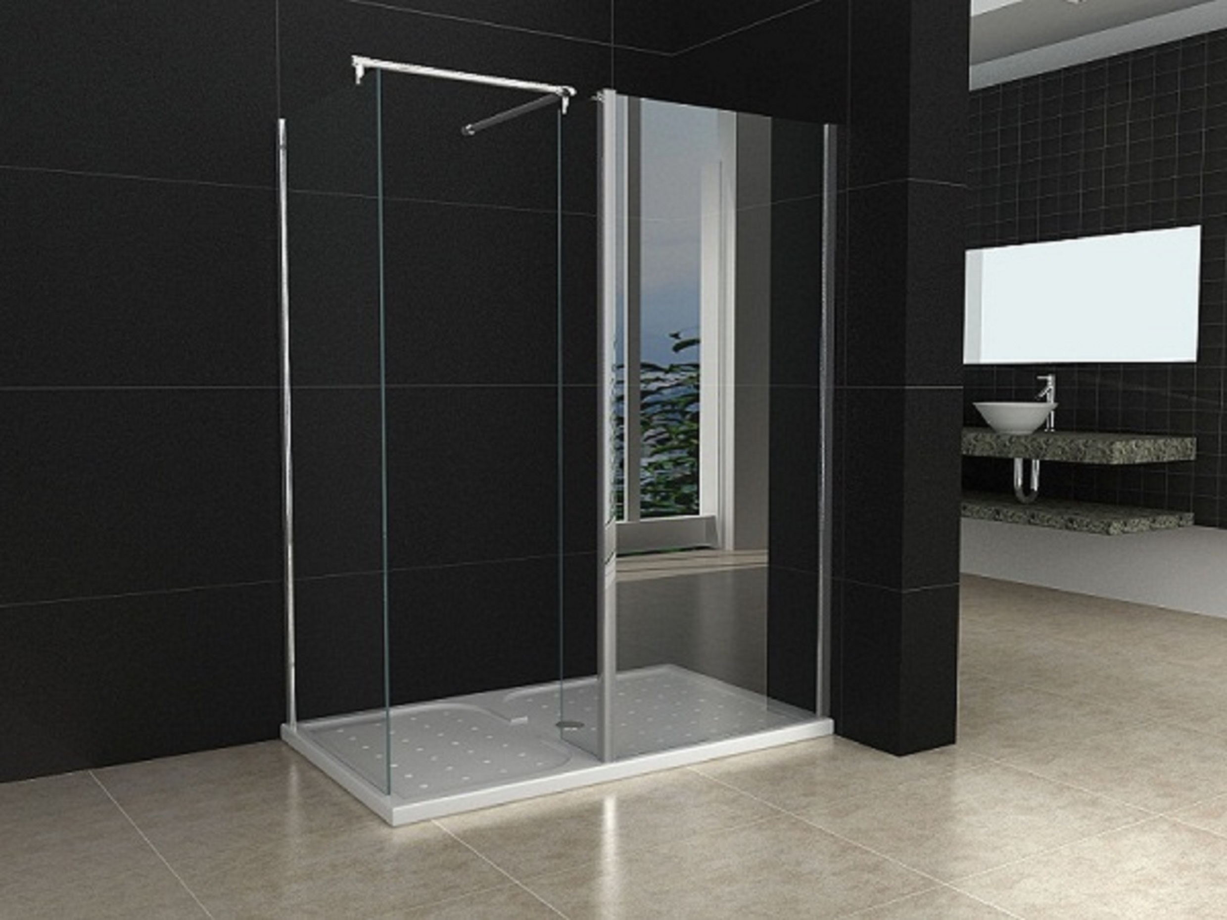 1200x800mm Walk in Shower Enclosure Door + Shower Tray + Trap Waste | eBay & 1200x800mm Walk in Shower Enclosure Door + Shower Tray + Trap Waste ...
