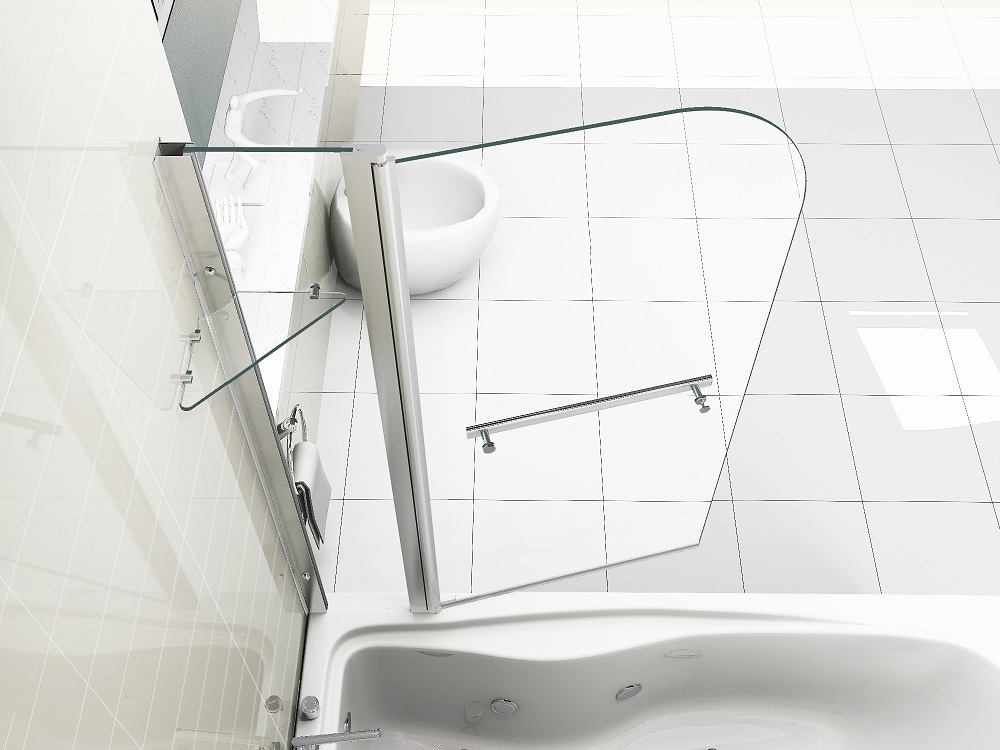 180 176 Pivot 6mm Glass Over Bath Screen Double Shower Screen