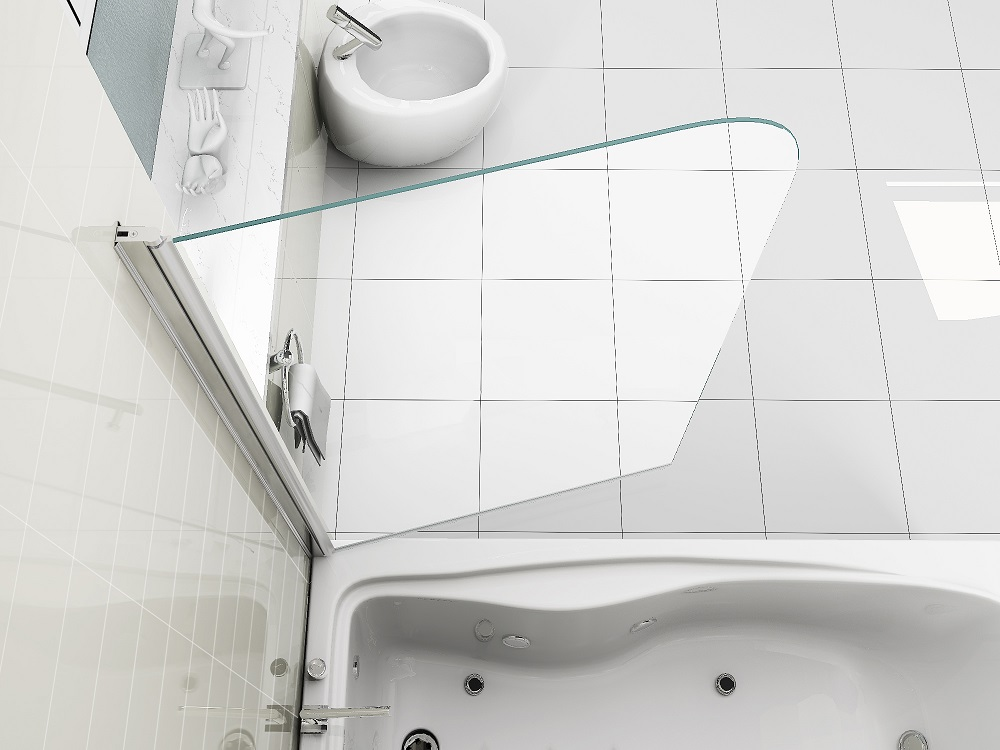 simple luxury 6mm clear glass over bath shower screen