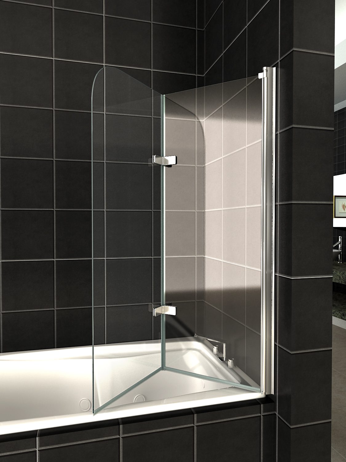 Glass Over Bath Shower Door Panel Folding Screen 1400