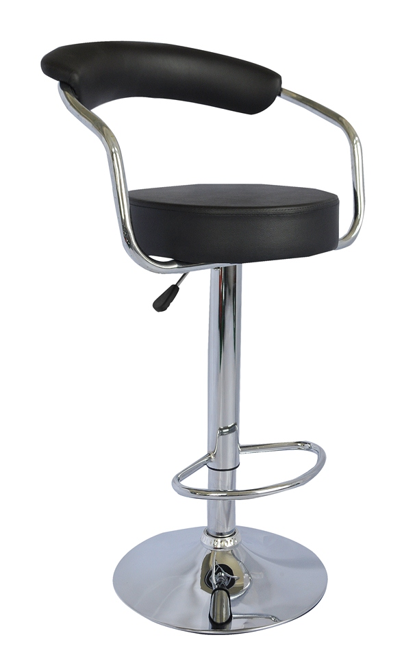 1 New Black PU Swivel Faux Leather Breakfast Kitchen Bar Stools