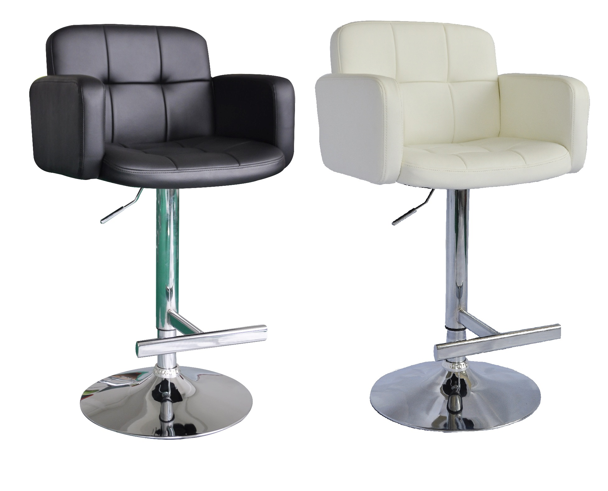A Pair Of Style Swivel Pu Leather Breakfast Kitchen Bar Stools Pub Barstools Ebay