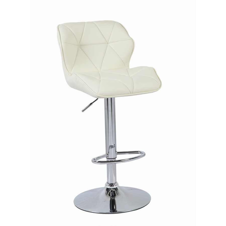 Cream modern uranus padded swivel faux leather breakfast for Kitchen swivel bar stools