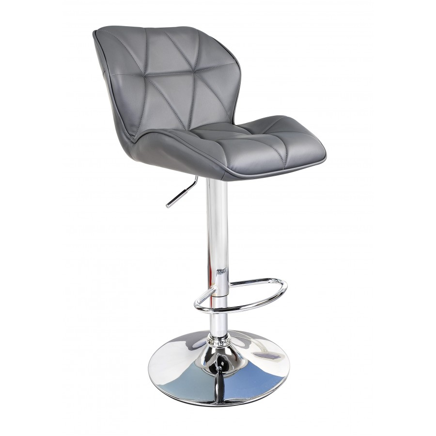 Grey Modern Uranus Padded Swivel Faux Leather Breakfast