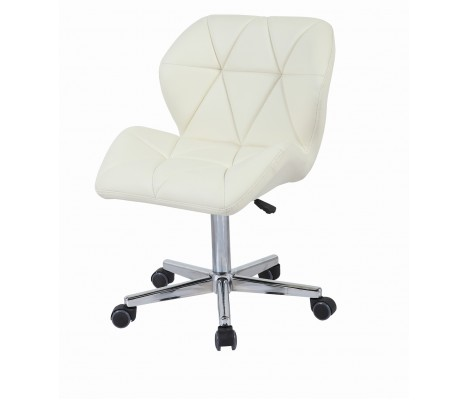 Cream Modern Uranus Padded Swivel Faux Leather Computer Desk Office Chair