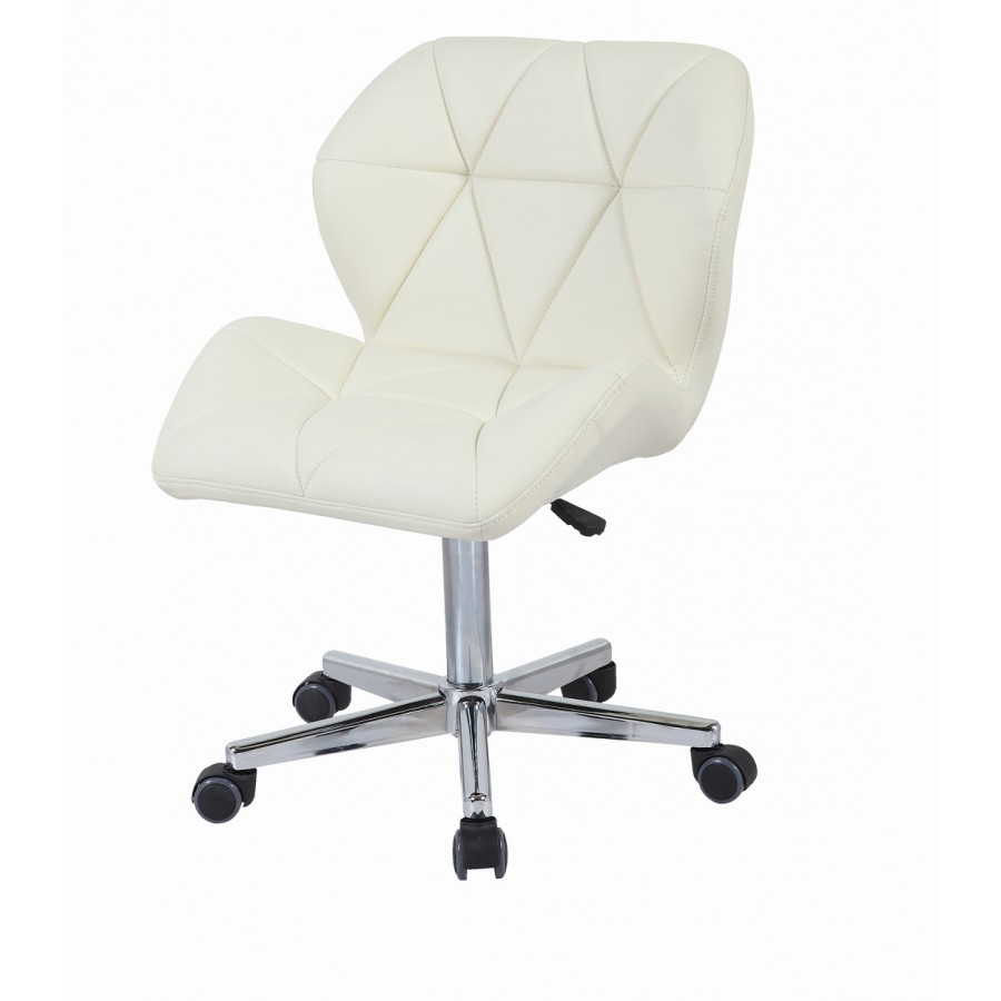 Cream modern uranus padded swivel faux leather computer for Cream office chair
