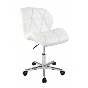 White Modern Uranus Padded Swivel Faux Leather Computer Desk Office Chair