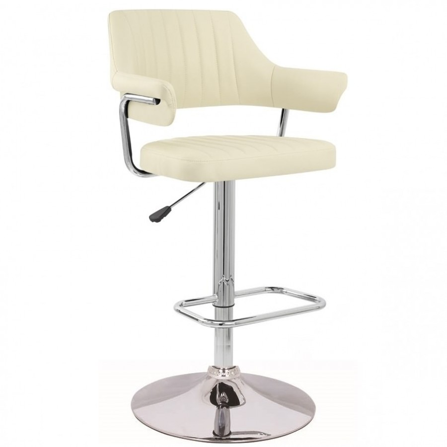 Cream Modern Emper Padded Swivel Faux Leather Breakfast
