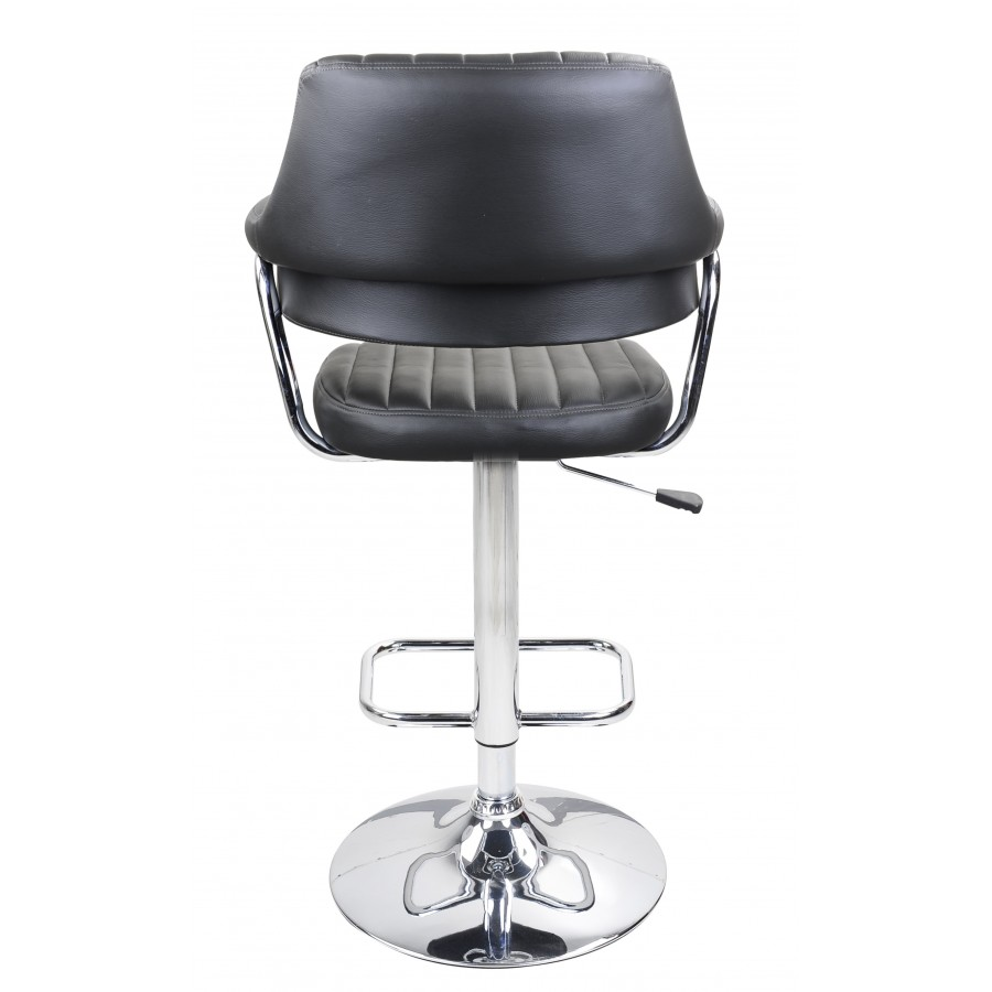 Grey Modern Emper Padded Swivel Faux Leather Breakfast