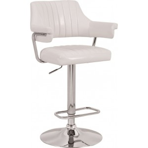 White Modern Emper Padded Swivel Faux Leather Breakfast Kitchen Bar Stools Pub