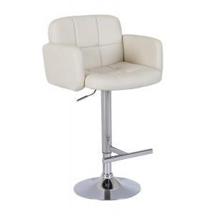 New Jupiter Cream Faux Leather Swivel Breakfast Kitchen Barstool