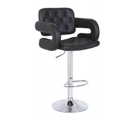 Mercury PU Swivel Faux Leather Breakfast Kitchen Bar Stools Pub Barstools in Black