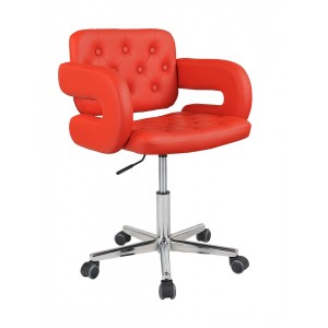 Red Havana Faux Leather Swivel Office Chair