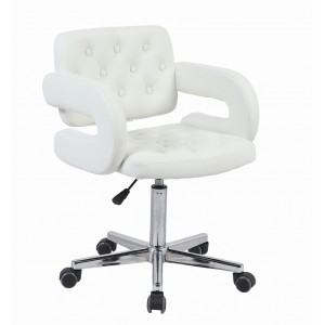 White Faux Leather Havana Swivel Office Chair