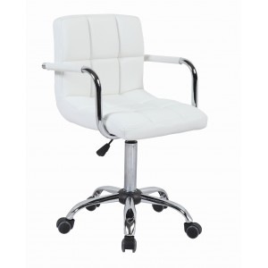 White Cuban Faux Leather Swivel Office Chair