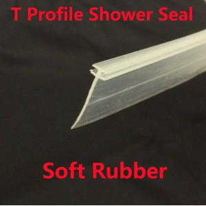 T Profile Shower Seal For 2mm Gap 18mm Soft Bottom Fin 1100mm In Length