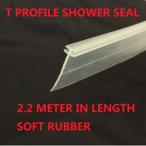 T Profile Shower Seal For 2mm Gap 18mm Soft Bottom Fin 2200mm In Length