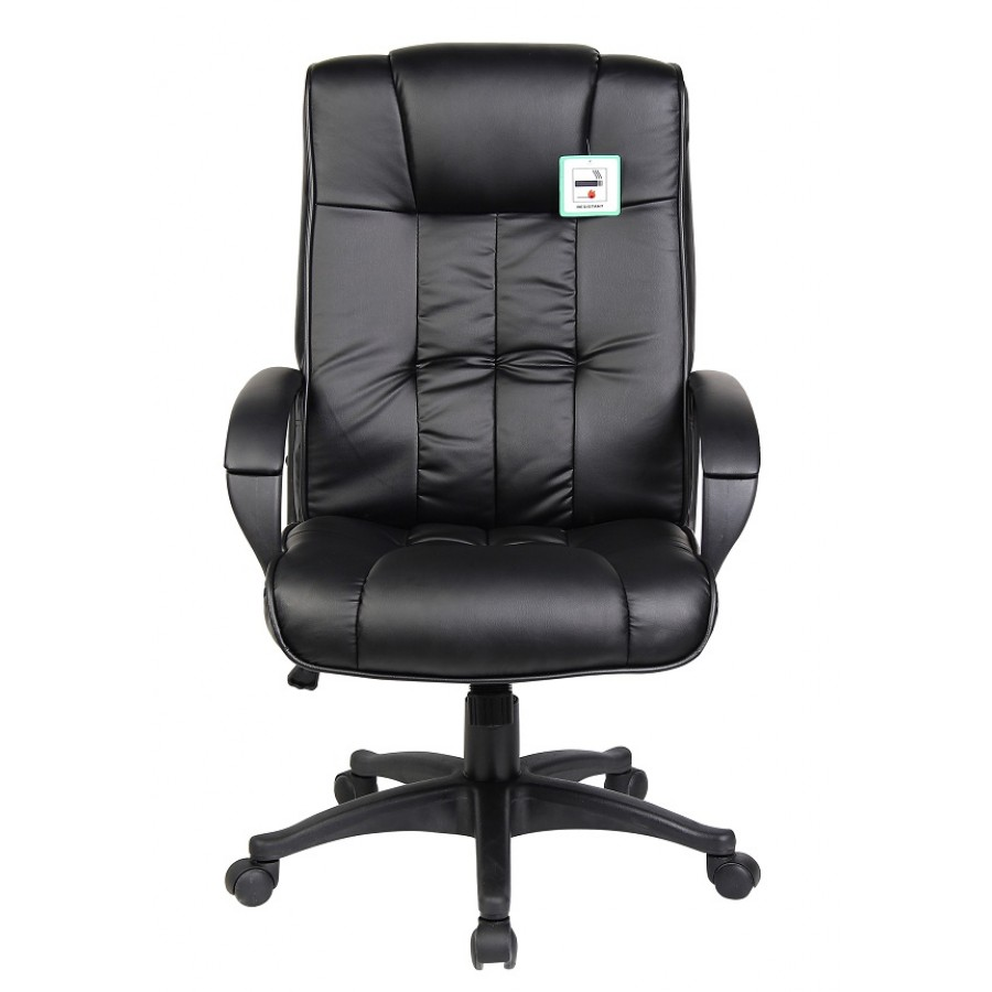 black leather padded executive computer office chair. Black Bedroom Furniture Sets. Home Design Ideas