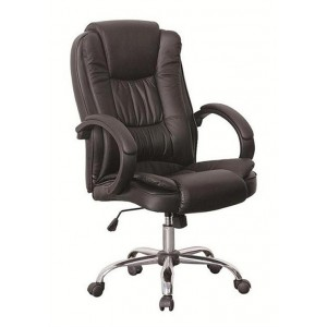 Black Faux Leather Luxury Swivel Executive Computer Office Chair