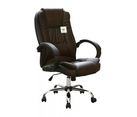 Brown Faux Leather Luxury Swivel Executive Computer Office Chair