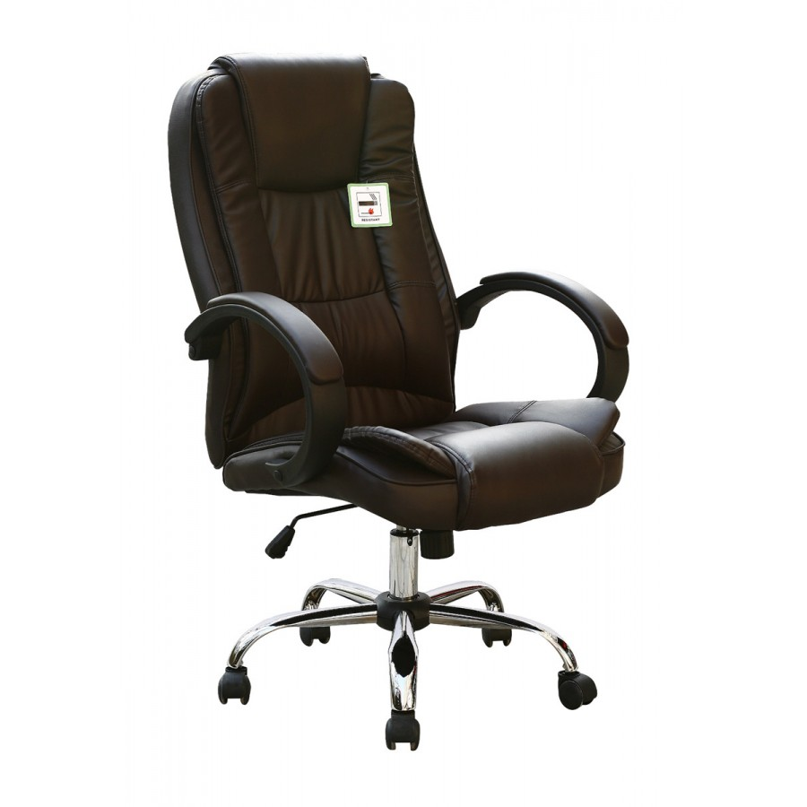 Brown faux leather luxury swivel executive computer office for Luxury leather office chairs