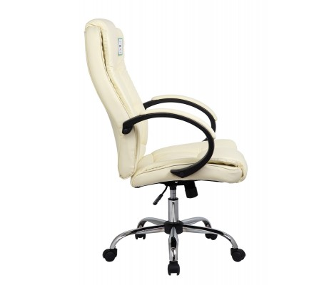 Cream Faux Leather Luxury Swivel Executive Computer Office Chair