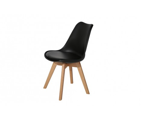 Black Modern Eiffel Design Tulip Office Dining Chair Padded Seat