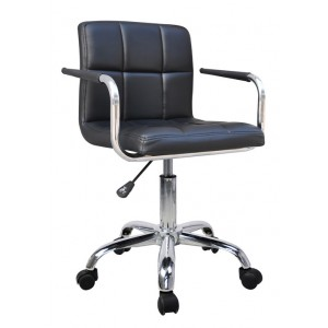 New Havana Black Faux Leather Swivel Office Chair