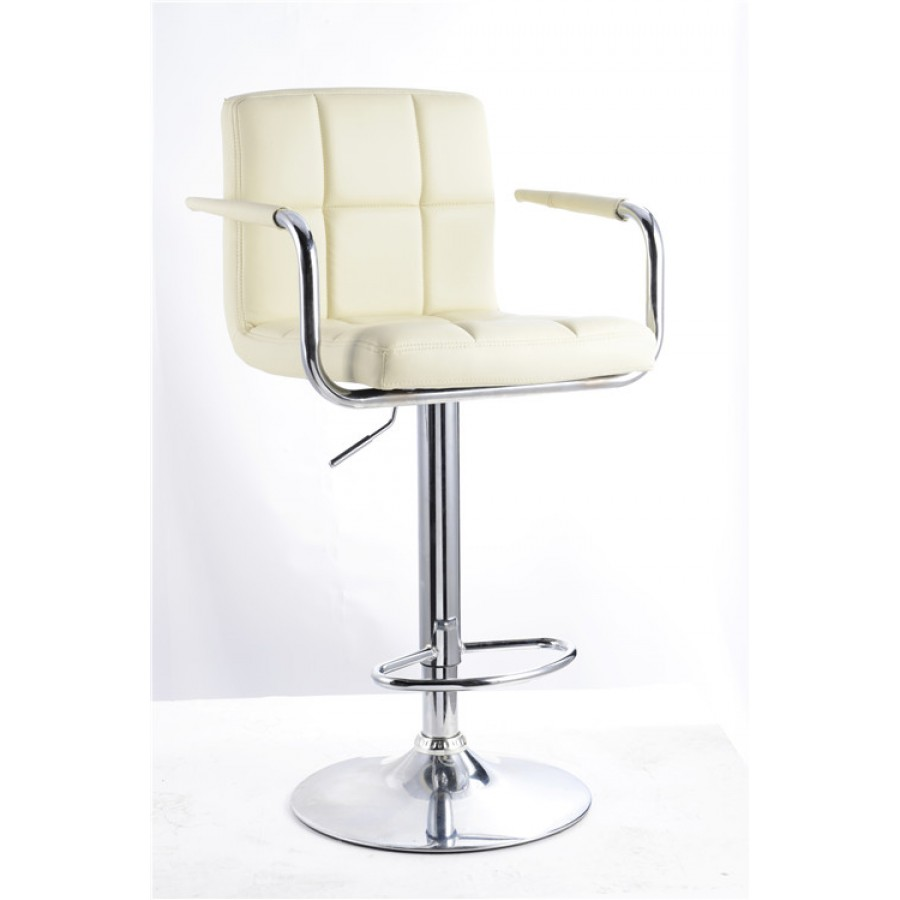 Cream Havana Faux Leather Swivel Breakfast Kitchen Barstool