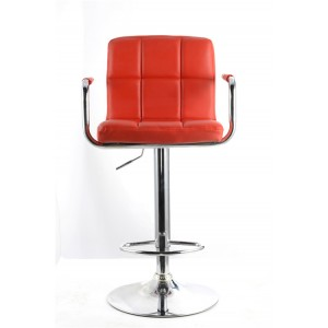 Red Havna Faux Leather Swivel Breakfast Kitchen Bar Stools