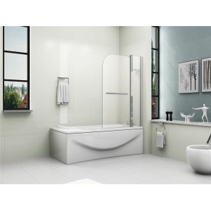 6mm Glass Double Panel Bah Shower Screen with Shelf
