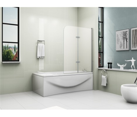 180° Pivot Glass 2 Fold Shower Bath Screen 1200 x 1400mm