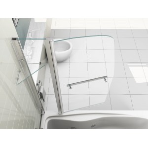 New Sail Style Pivot 6mm Glass Bath Shower Screen Double Panel with Shelf