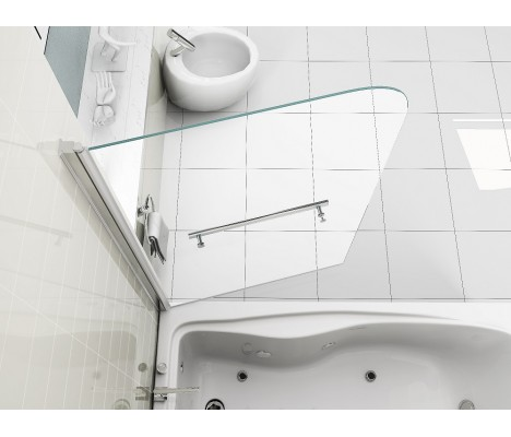 6mm Easy Clean Glass 180° Pivot Bath Shower Screen with Towel Handle
