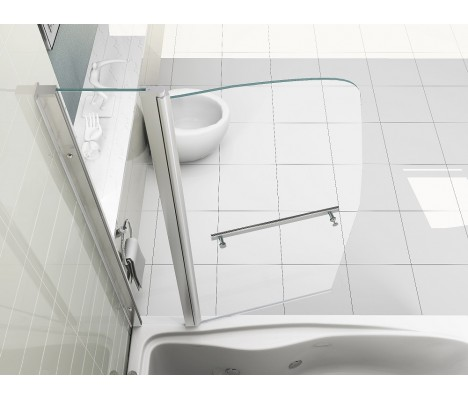 6mm Easy Clean Glass New Sail Style Double Panel Pivot Bath Shower Screen with Towel Handle