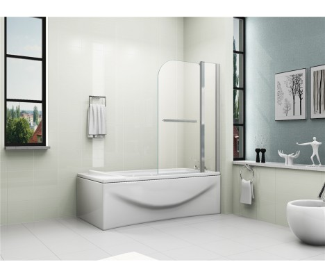 6mm Easy Clean Glass 180° Pivot Double Panel Shower Bath Screen with Towel Handle